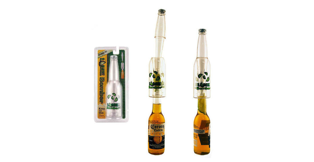 Real Products That Exist: The Lime Bomber, For Finger-Free Mashing Lime Wedges Into Beer Bottles