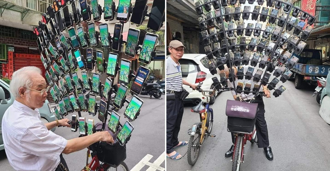 'Pokemon Go Grandpa' Now Playing With 72 Smartphone Bike Rig