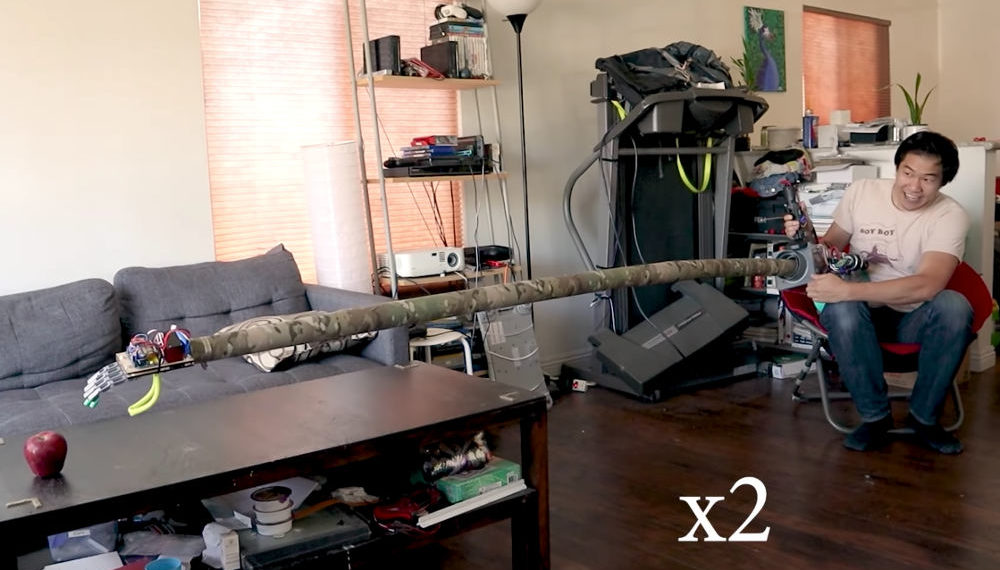 Guy Builds Totally Impractical 8-Foot Robotic Arm For Social Distancing