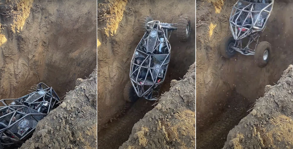 Holy Smokes: Rock Bouncer Exits Dirt Pit Via Near-Vertical Wall