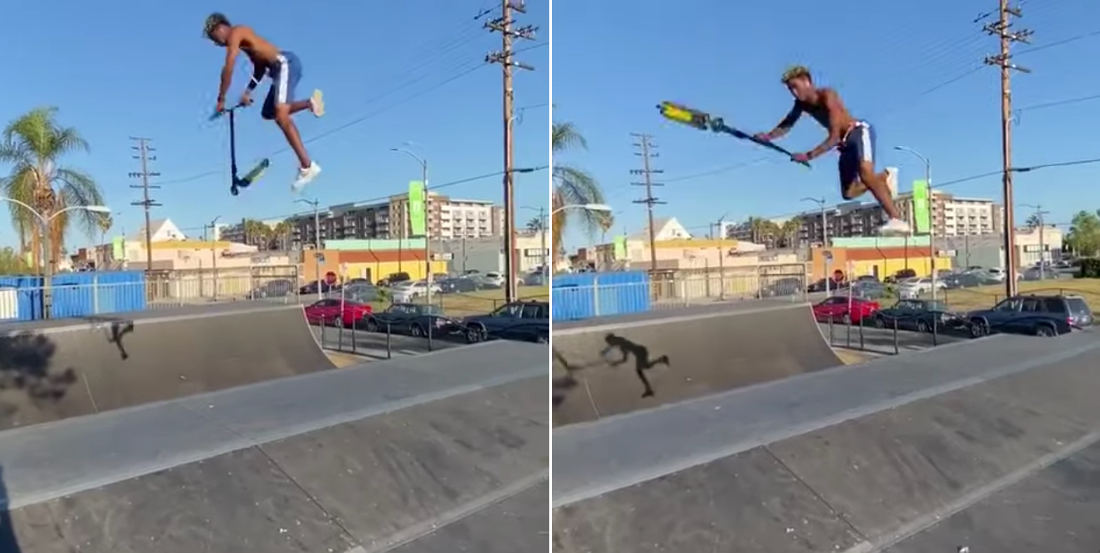 So Much Spinning: This Sick Half-Pipe Scooter Trick