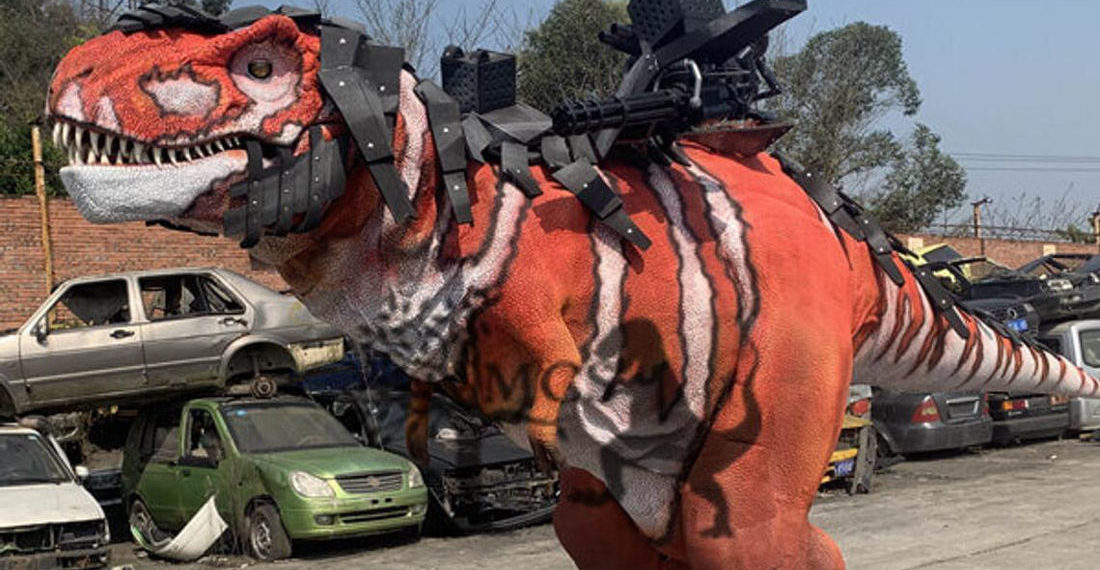 Dino-Riders IRL!: This 20-Foot Machine Gun Toting Armored T-Rex Costume
