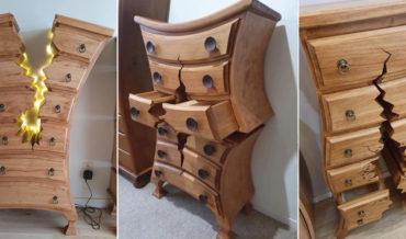 Woodworker's Amazing 'Broken' Cartoon Inspired Furniture