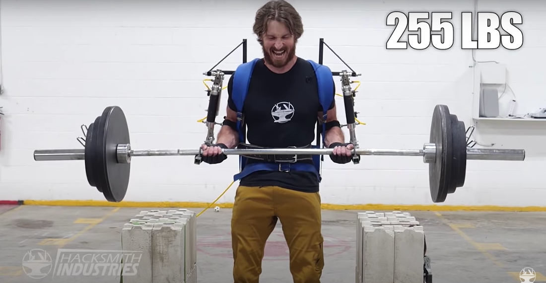 Guy Builds Upper Body Exoskeletal Suit To Set 255-Pound Bicep Curl World Record