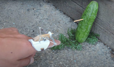 That Cucumber Never Saw It Coming: A Tiny Finger-Mounted Crossbow
