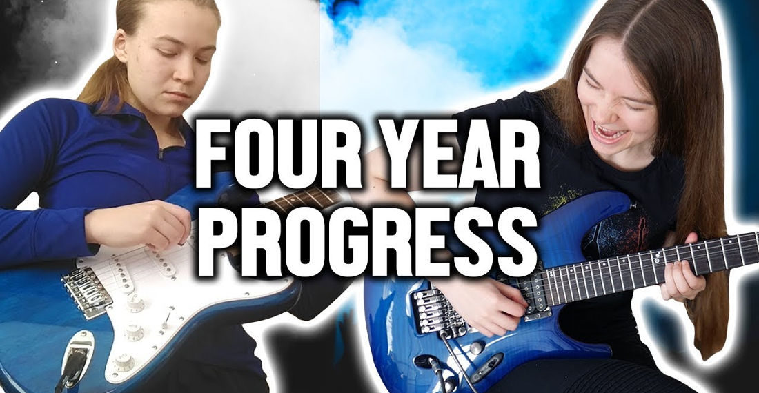 Girl Documents Her Learning To Play Electric Guitar Progress Monthly For Four Years