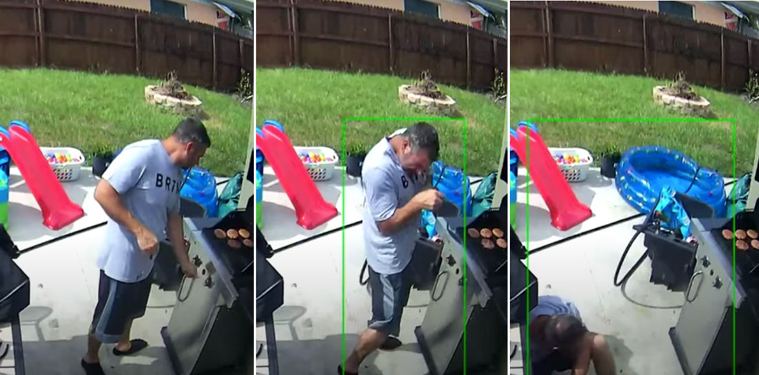 Man Get Scared Lighting Gas Grill, Takes A Spill