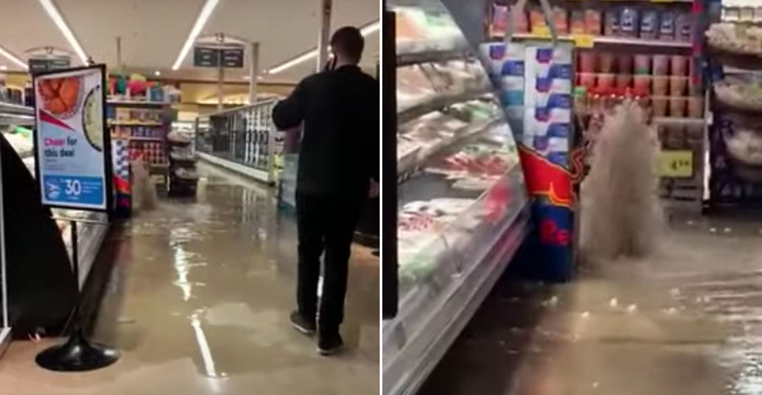 Something's Not Right Here: Water Spewing From Floor Floods Supermarket