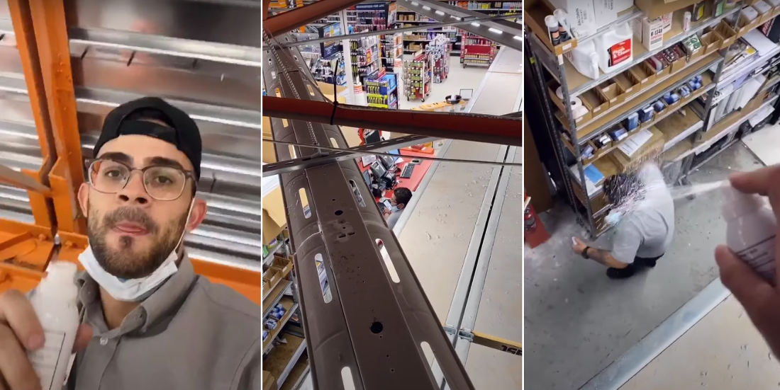 Guy Hides In Rafters At AutoZone To Beat His Coworker In Their 'Hand Sanitizer War' Game