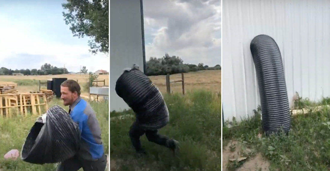Hiding In Plain Sight: Man Uses Giant Flexible Ducting To Disappear