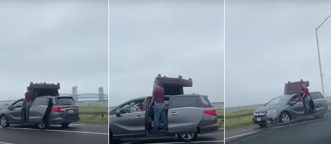 Problem Solving: Guy Stands In Open Minivan Door To Hold Couch On Roof