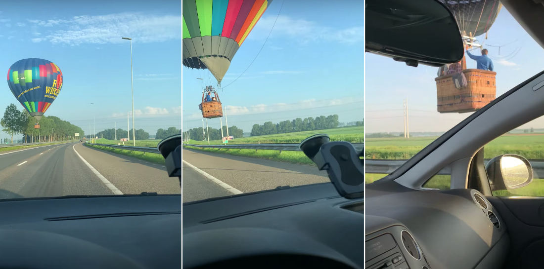 Um, Do You Know What You're Doing?: Hot Air Balloon Barely Clears Roadway