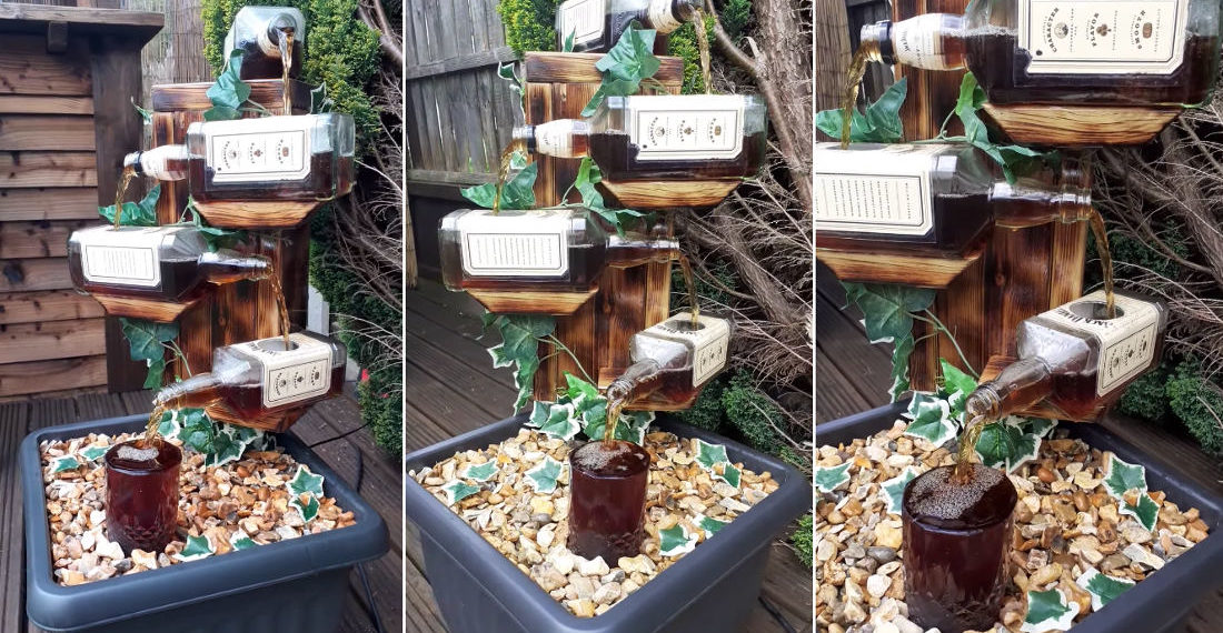 Man Shows Off His Homemade Jack Daniel's Bottles Garden Fountain