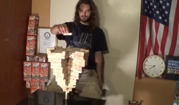Man Sets New World Record By Stacking 485 Jenga Blocks On A Single Vertical Piece