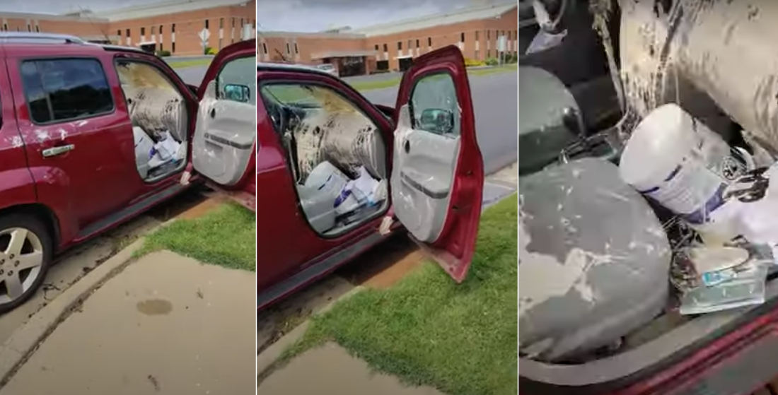 Having A Bad Day?: Aftermath Of Guy Spilling Entire Paint Bucket In Car