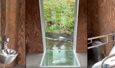 Number Two With A View: Public Restroom With River Window