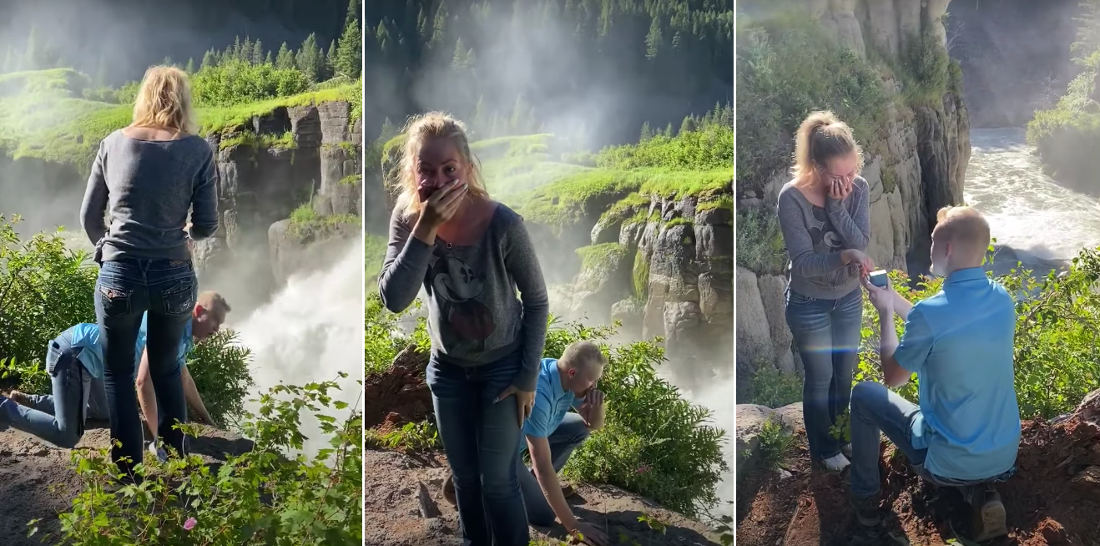Classic: The Old 'Whoops I Dropped Your Engagement Ring Into A Waterfall' Proposal
