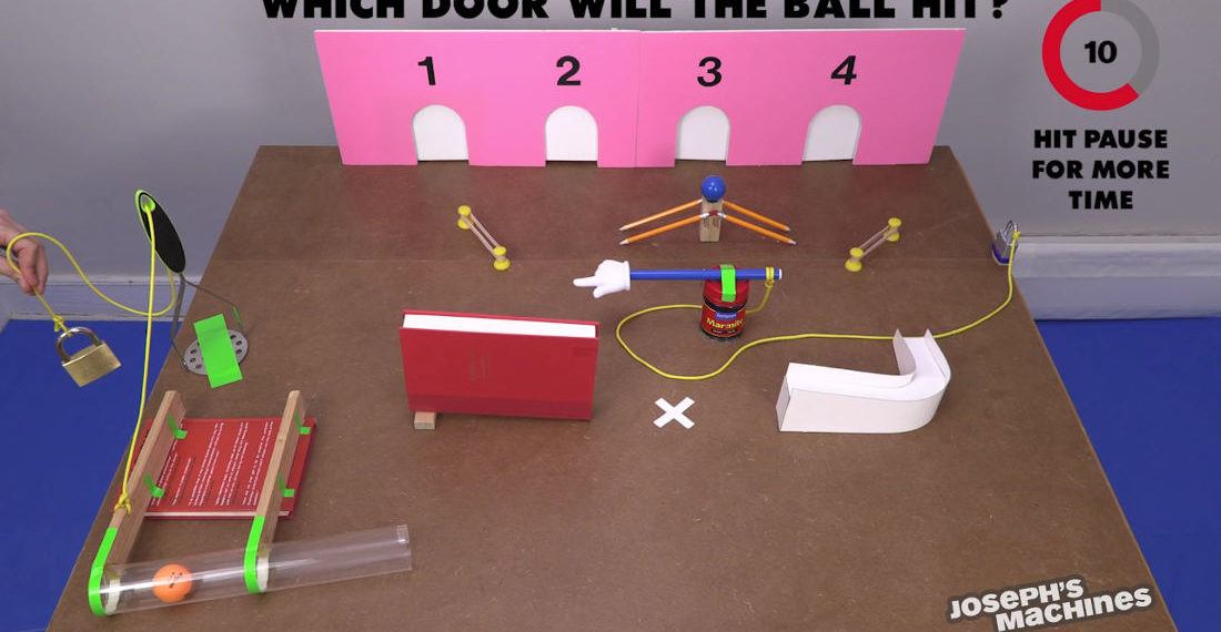 What Door Will The Ball Hit?: A Rube Goldberg Machine Guessing Game