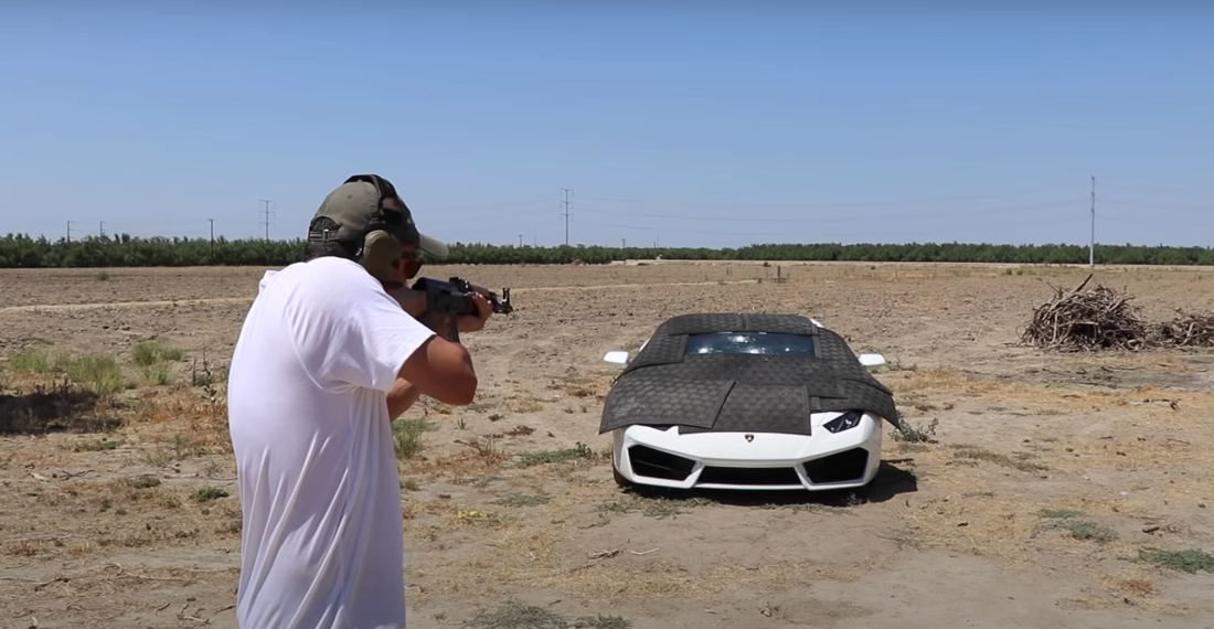 Guy Shoots Increasingly More Powerful Ammunition At Bulletproof Lamborghini Windshield