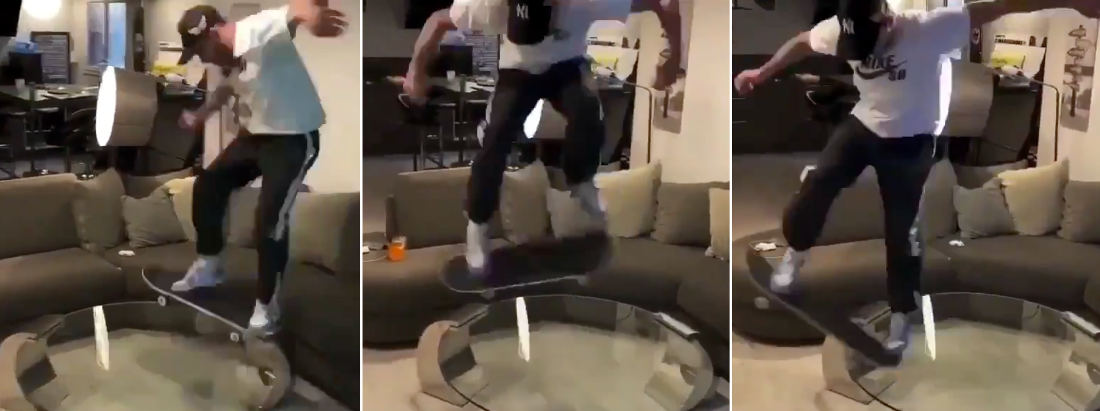 Risky Business: Skateboarder Performs Tricks On Glass Coffee Table
