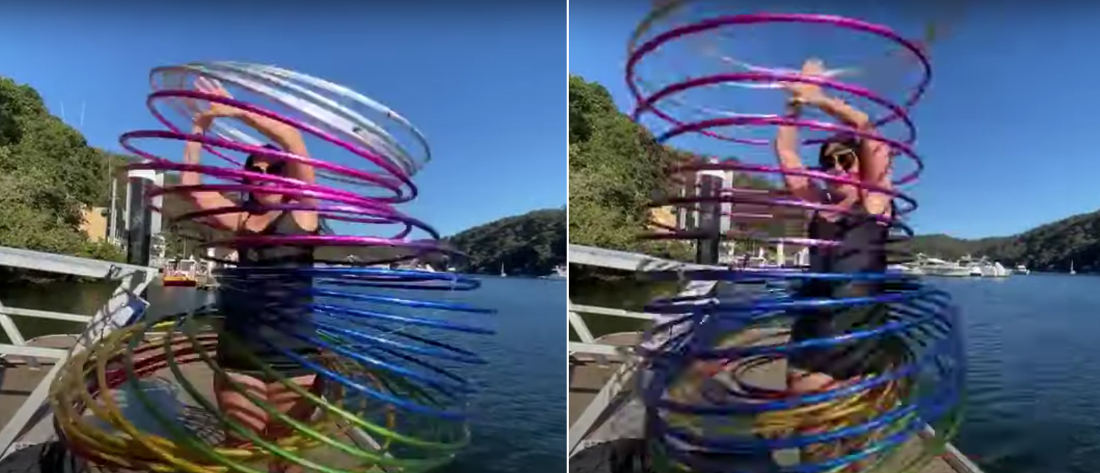 Trippy: Girl Performs With Rainbow Hula Hoop 'Slinky'