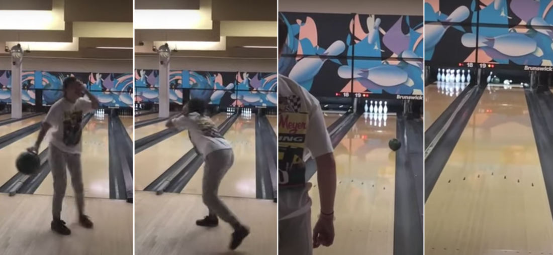 Girl's Ridiculous Spinning Around With Eyes Covered Bowling 'Trick Shot'