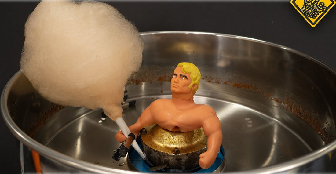 Making Cotton Candy Out Of The Goo Inside A Stretch Armstrong Doll