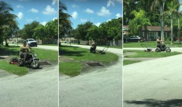 Work Smarter, Not Harder: Man Towing Lawnmower Behind Mini-Bike
