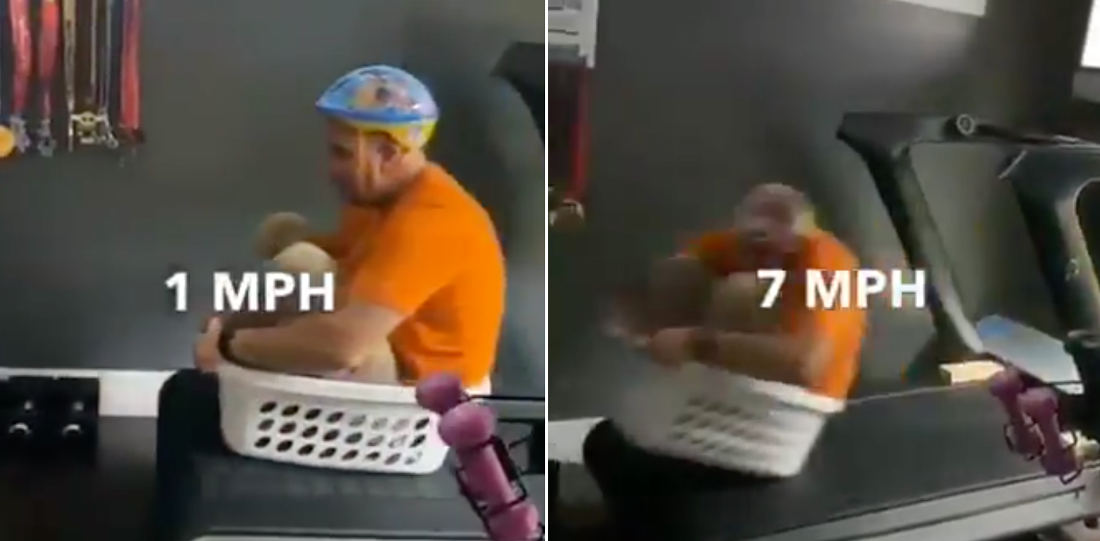 Man In Laundry Basket Tests The Speed Settings Of His Treadmill