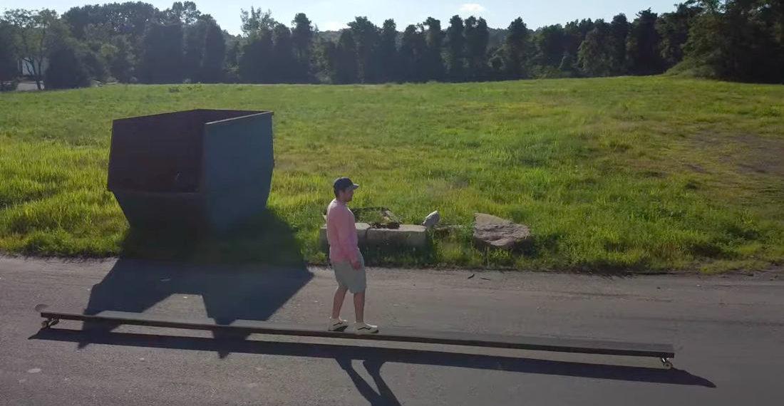 Guy Builds Himself A 25-Foot Long Skateboard