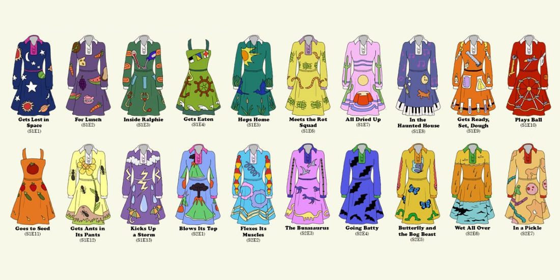 A Chart Of All The Dresses Worn By Ms. Frizzle On The Magic School Bus