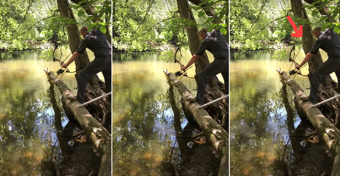 Close Calls: Bow Fisherman Ricochets Arrow Back At Head