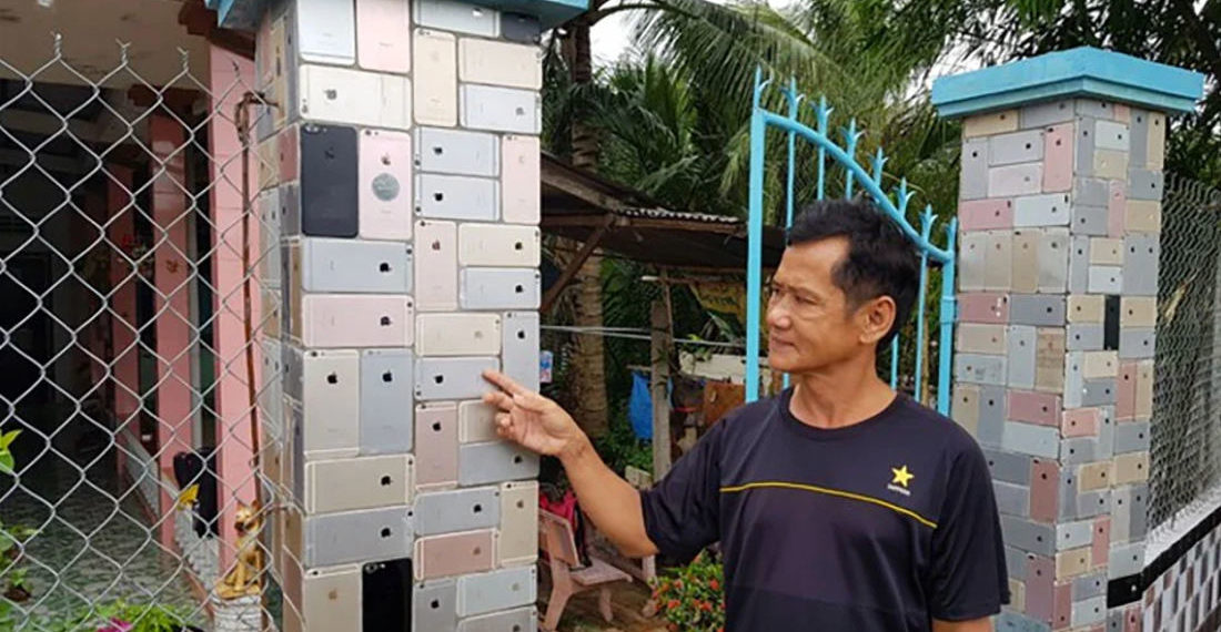 Okaaaay: Man Adorns Fence With Thousands Of Broken iPhones
