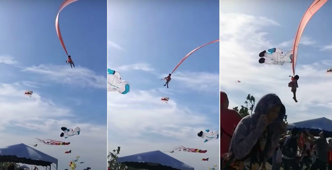 Yikes: 3-Year Old Gets Tangled In Kite During Festival, Takes To The Skies