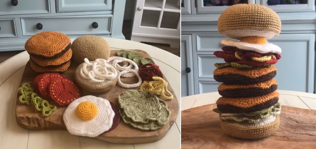 Mmmmm!: A Crocheted Triple Cheeseburger With All The Fixings
