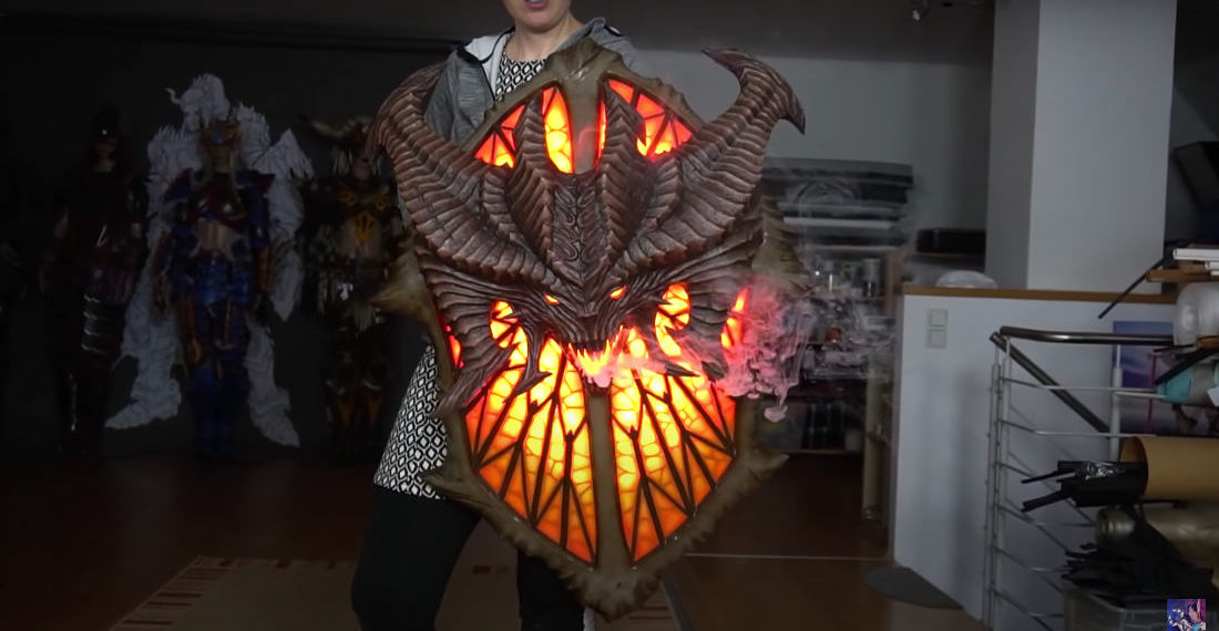 Unholy Smokes: Woman Builds Glowing & Smoking Overwatch/Diablo Demonic Shield