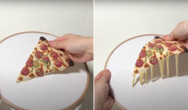 Realistic Embroidered Pizza Complete With Gooey Cheese Illusion