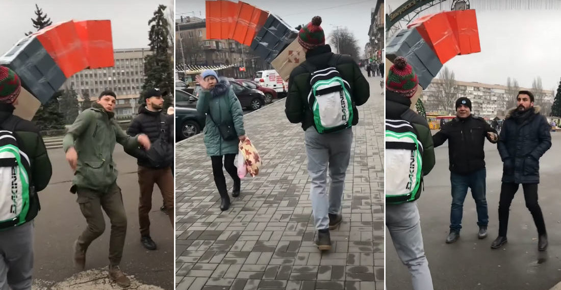 Classic: Guy's High Stack Of Boxes Falling On People Prank
