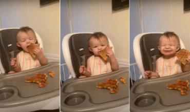 The Beginning Of A Lifelong Love: Little Girl Has First Ever Bite Of Pizza
