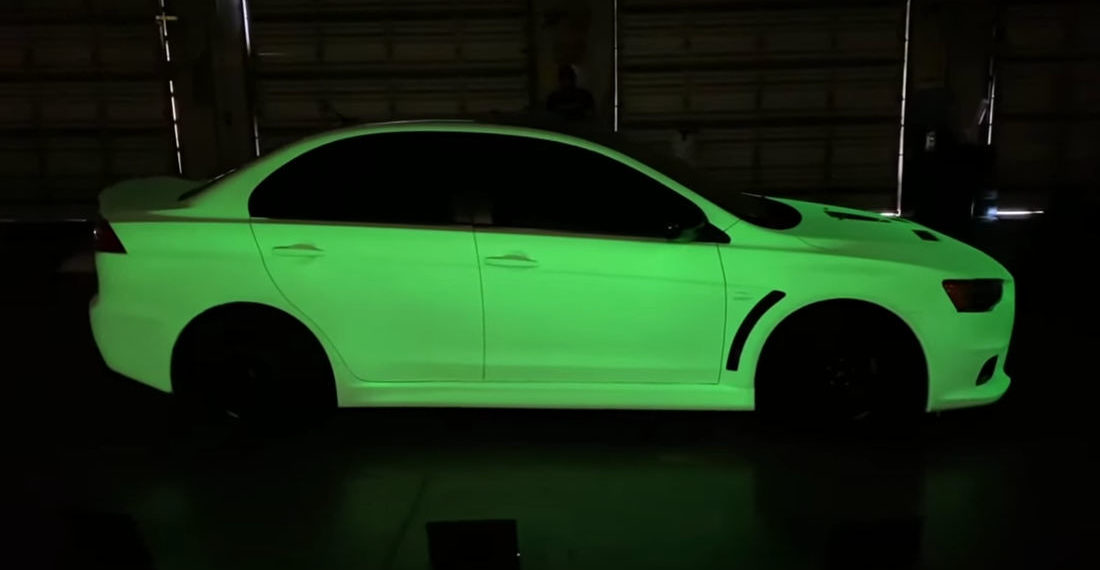 Guy Paints Car With The Brightest Available Glow In The Dark Pigments