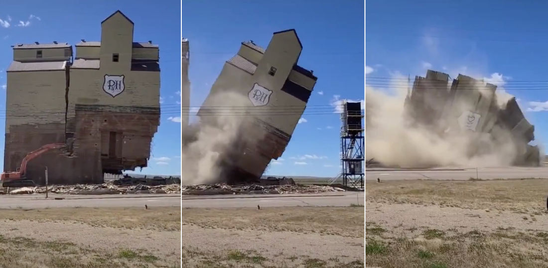 Tiiiiiimber!: Excavator Knocks Over Half Of Giant Grain Elevator