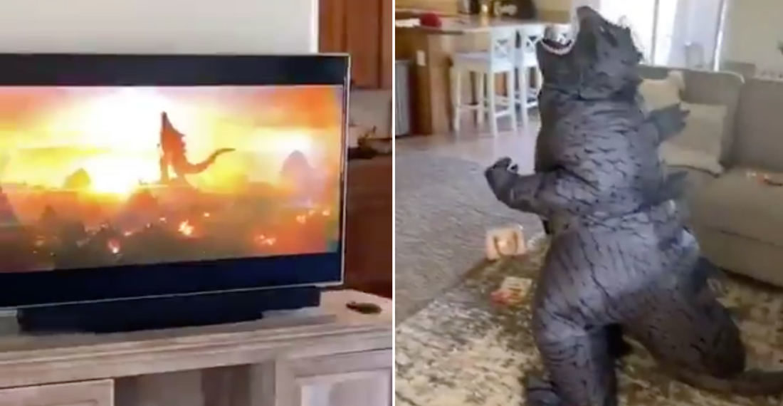 Nailed It: Kid In Godzilla Costume Does Impression While Watching Godzilla Movie