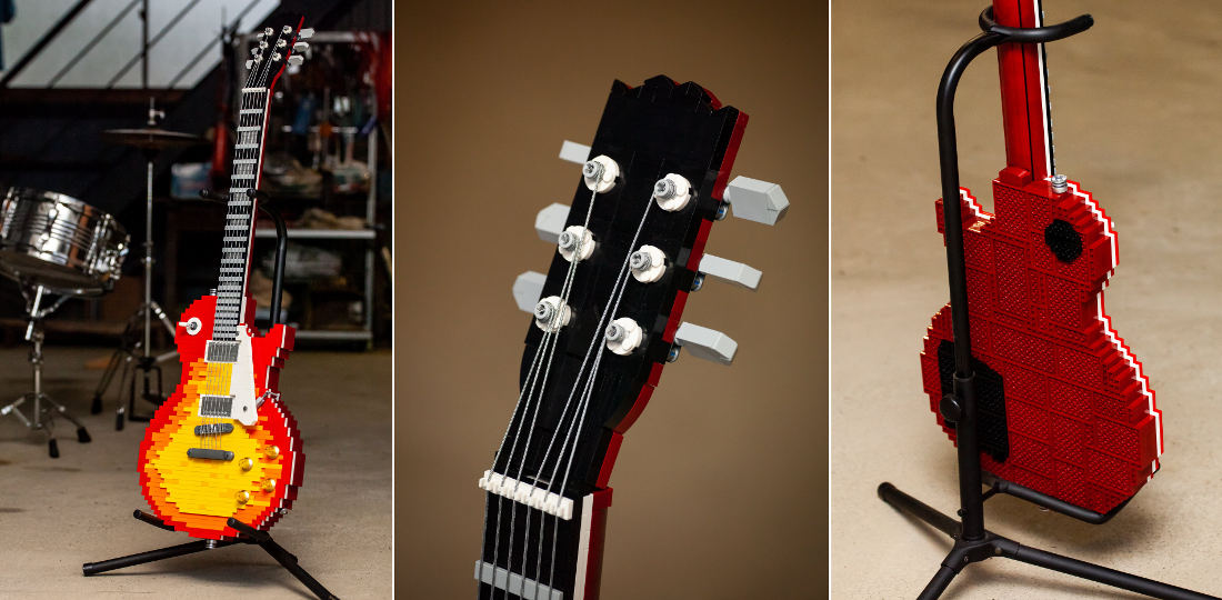 Full-Scale Gibson Les Paul Guitar Built From LEGO
