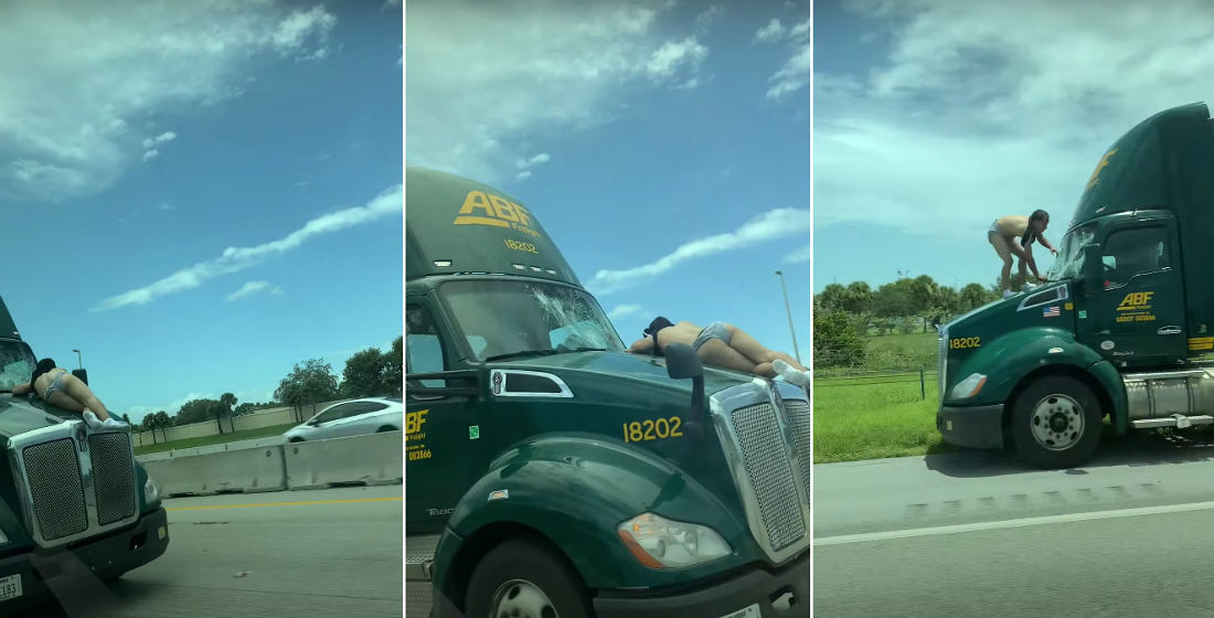 Meanwhile In Florida: Semi Doing 60+MPH Down Highway With Man On Hood
