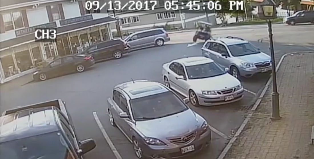 Coming In Hot!: Guy In Souped Up Golf Cart Fails To Navigate Turn Into Parking Lot