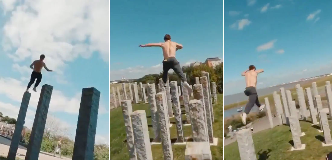 Parkour Parkour!: Guy Effortlessly Hops Across Tall, Narrow Stone Pillars In Park