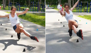 Mad Skills: Woman Performs Backwards One-Wheel Rollerblade Slalom