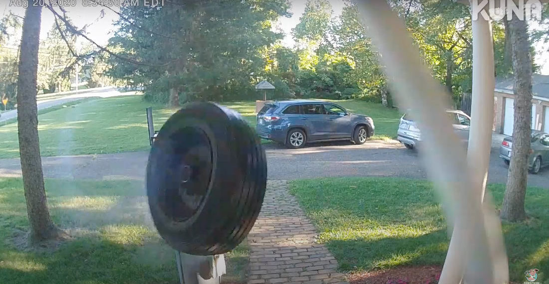 Doorbell Cam Captures Tire Hitting House