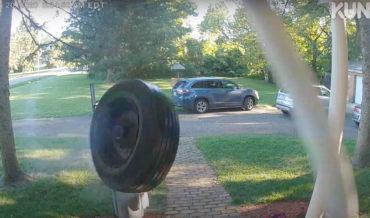 Doorbell Cam Captures Tire Hitting House