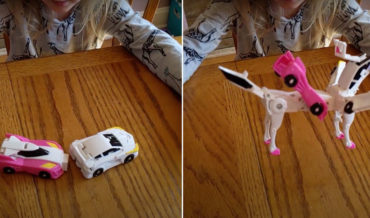 Two Toy Cars That Instantly Transform Into A Unicorn When They Make Contact